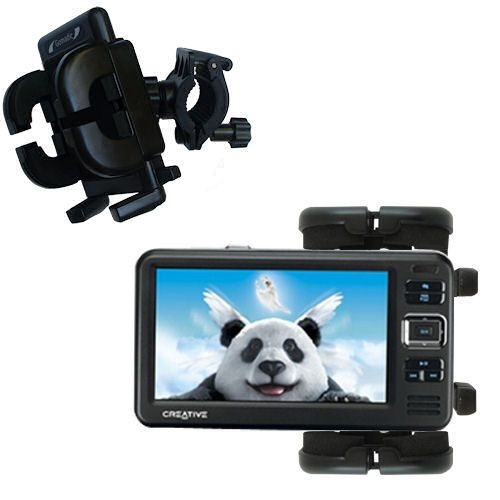 Gomadic Bike Handlebar Holder Mount System suitable for the Creative Zen Vision W - Unique Holder; Lifetime Warranty