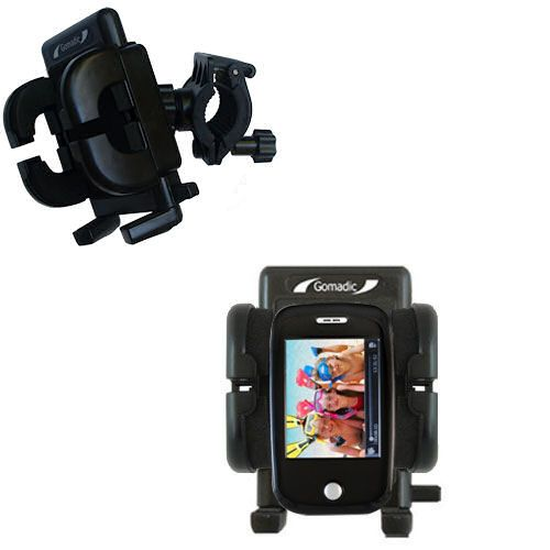 Gomadic Bike Handlebar Holder Mount System suitable for the Ematic E6 Series - Unique Holder; Lifetime Warranty