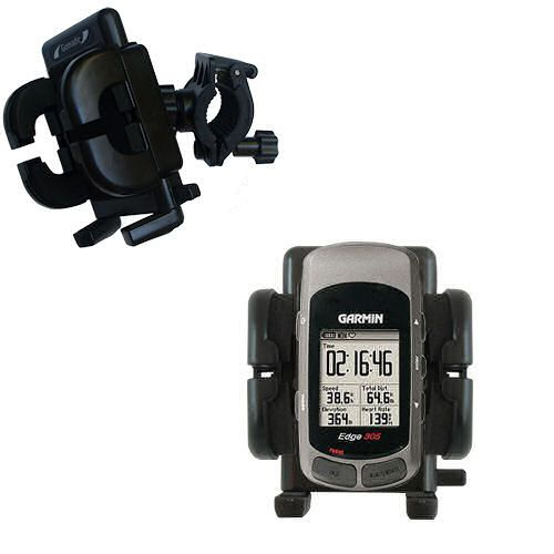 Gomadic Bike Handlebar Holder Mount System suitable for the Garmin Edge 305 - Unique Holder; Lifetime Warranty
