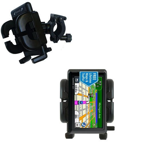 Gomadic Bike Handlebar Holder Mount System suitable for the Garmin nuvi 1490LMT 1490T - Unique Holder; Lifetime Warranty