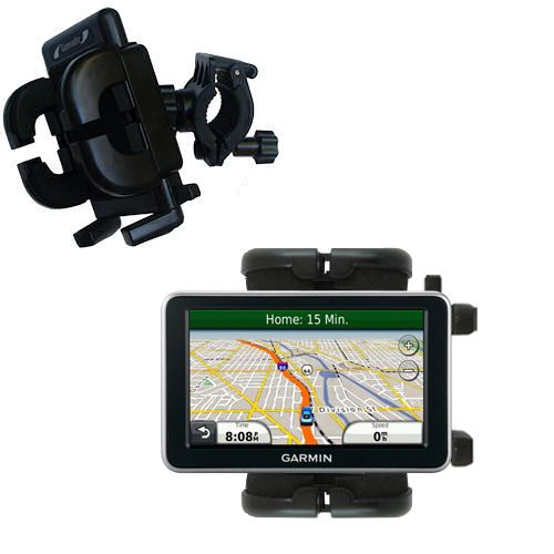 Gomadic Bike Handlebar Holder Mount System suitable for the Garmin Nuvi 2350 - Unique Holder; Lifetime Warranty
