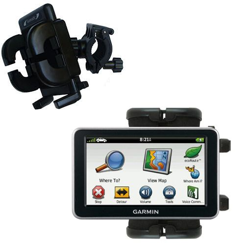 Gomadic Bike Handlebar Holder Mount System suitable for the Garmin Nuvi 2460 2450 - Unique Holder; Lifetime Warranty