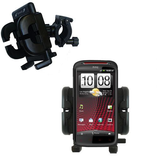 Gomadic Bike Handlebar Holder Mount System suitable for the HTC Sensation XE - Unique Holder; Lifetime Warranty