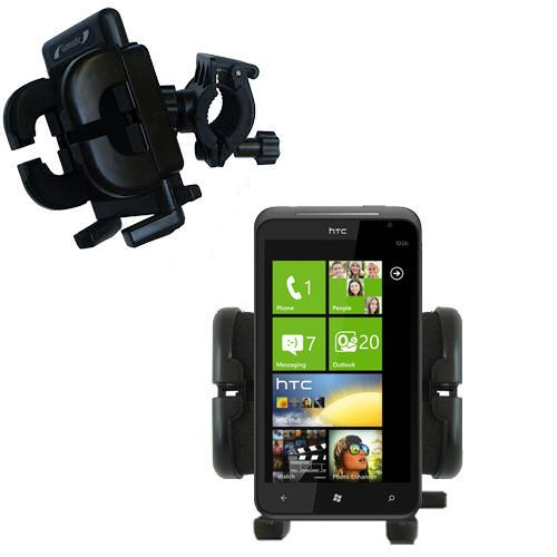Gomadic Bike Handlebar Holder Mount System suitable for the HTC Titan - Unique Holder; Lifetime Warranty