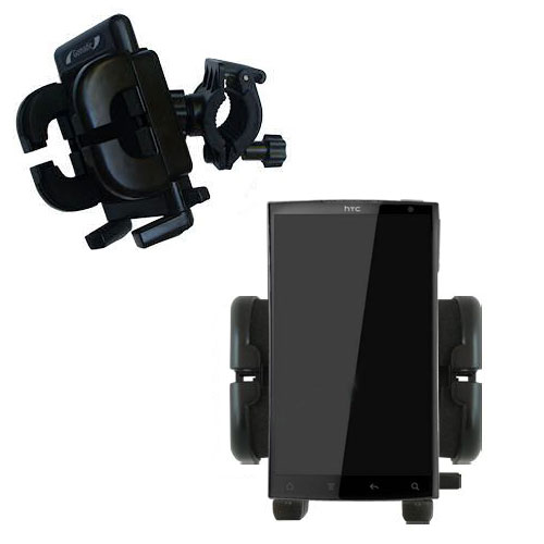 Gomadic Bike Handlebar Holder Mount System suitable for the HTC Zeta - Unique Holder; Lifetime Warranty