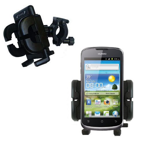 Gomadic Bike Handlebar Holder Mount System suitable for the Huawei U8815 - Unique Holder; Lifetime Warranty
