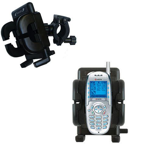 Gomadic Bike Handlebar Holder Mount System suitable for the Kyocera 3225 - Unique Holder; Lifetime Warranty