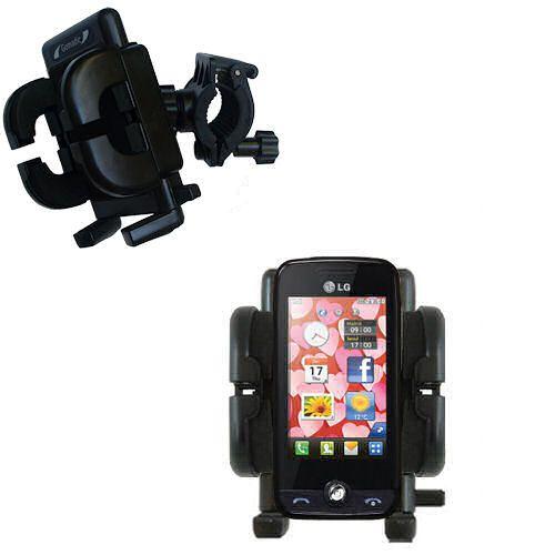 Gomadic Bike Handlebar Holder Mount System suitable for the LG Cookie Fresh (GS290) - Unique Holder; Lifetime Warranty