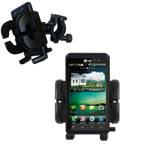 Gomadic Bike Handlebar Holder Mount System suitable for the LG Thrill 4G - Unique Holder; Lifetime Warranty