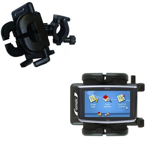 Gomadic Bike Handlebar Holder Mount System suitable for the Magellan Maestro 3200 - Unique Holder; Lifetime Warranty