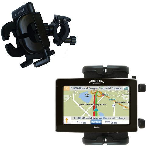 Gomadic Bike Handlebar Holder Mount System suitable for the Magellan Maestro 4250 - Unique Holder; Lifetime Warranty