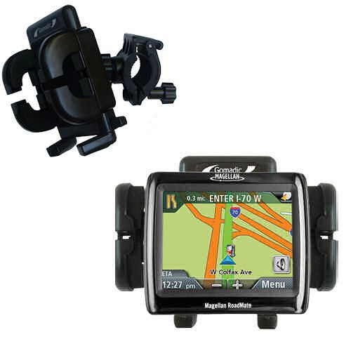 Gomadic Bike Handlebar Holder Mount System suitable for the Magellan Roadmate 1210 - Unique Holder; Lifetime Warranty