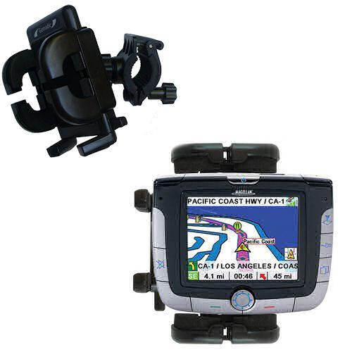 Gomadic Bike Handlebar Holder Mount System suitable for the Magellan Roadmate 3000T - Unique Holder; Lifetime Warranty