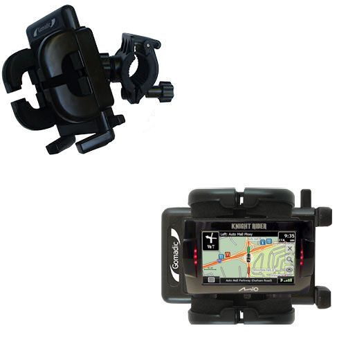 Gomadic Bike Handlebar Holder Mount System suitable for the Mio Knight Rider - Unique Holder; Lifetime Warranty