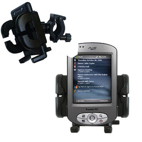 Gomadic Bike Handlebar Holder Mount System suitable for the Mio P550 - Unique Holder; Lifetime Warranty