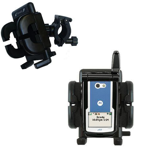 Gomadic Bike Handlebar Holder Mount System suitable for the Motorola i860 - Unique Holder; Lifetime Warranty