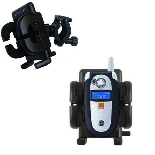 Gomadic Bike Handlebar Holder Mount System suitable for the Motorola V545 - Unique Holder; Lifetime Warranty