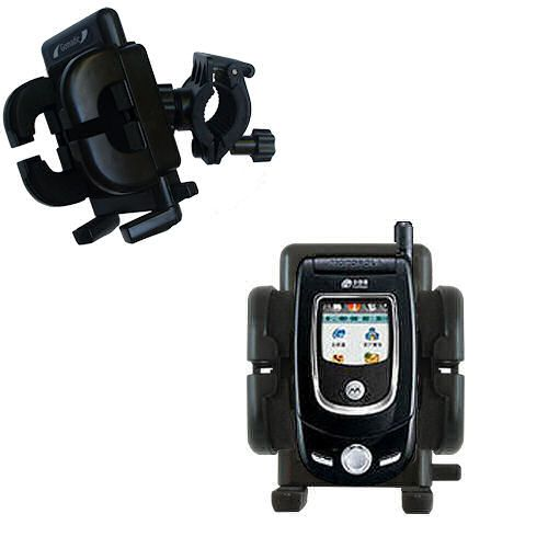 Gomadic Bike Handlebar Holder Mount System suitable for the Motorola V557 - Unique Holder; Lifetime Warranty