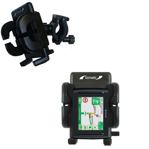 Gomadic Bike Handlebar Holder Mount System suitable for the Navman F35 - Unique Holder; Lifetime Warranty