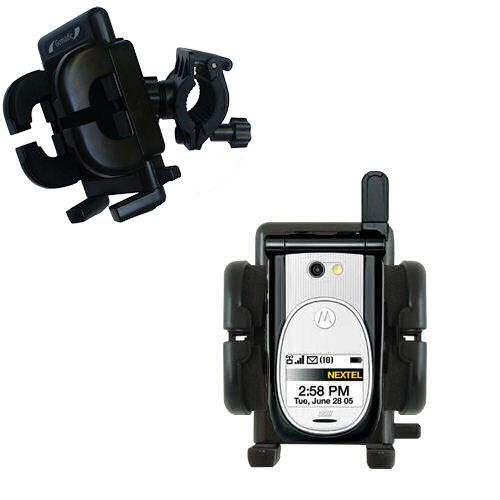Gomadic Bike Handlebar Holder Mount System suitable for the Nextel i920 i930 - Unique Holder; Lifetime Warranty