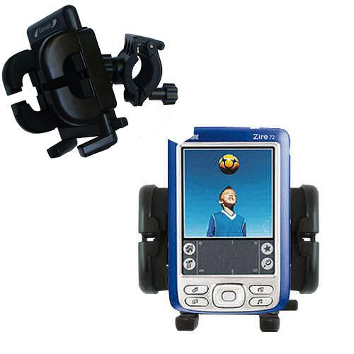 Gomadic Bike Handlebar Holder Mount System suitable for the Palm palm Zire 72s - Unique Holder; Lifetime Warranty