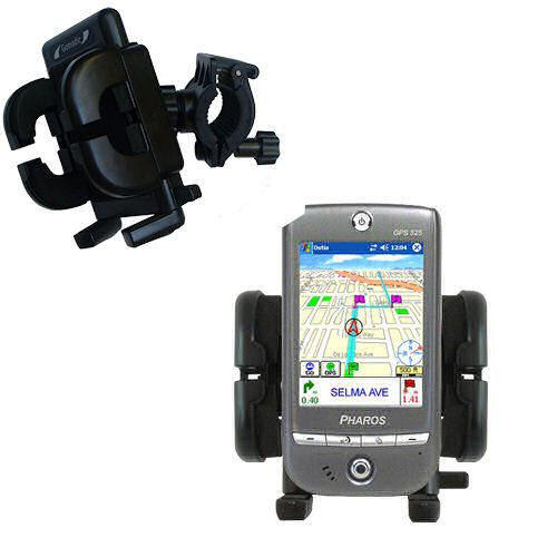 Gomadic Bike Handlebar Holder Mount System suitable for the Pharos GPS 525E - Unique Holder; Lifetime Warranty