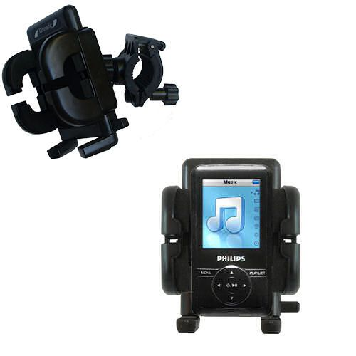 Gomadic Bike Handlebar Holder Mount System suitable for the Philips GoGear SA3125/37 - Unique Holder; Lifetime Warranty