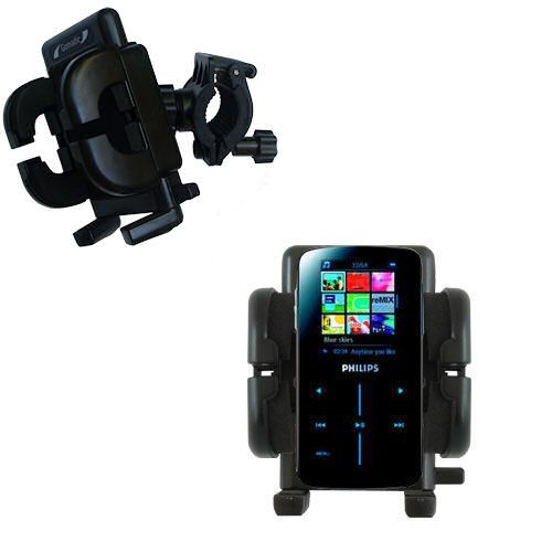 Gomadic Bike Handlebar Holder Mount System suitable for the Philips GoGear SA9325/00 - Unique Holder; Lifetime Warranty