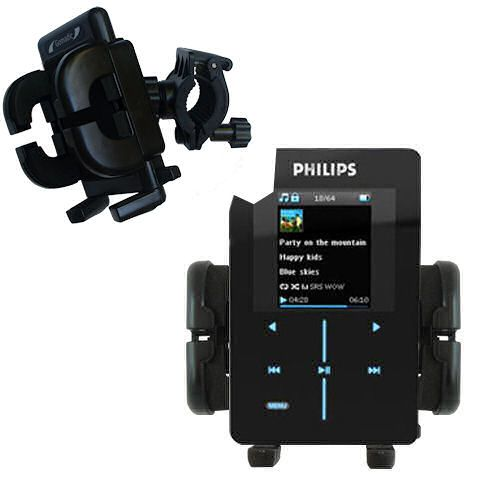 Gomadic Bike Handlebar Holder Mount System suitable for the Philips GoGear SA9200/17 Super Slim - Unique Holder; Lifetime Warranty
