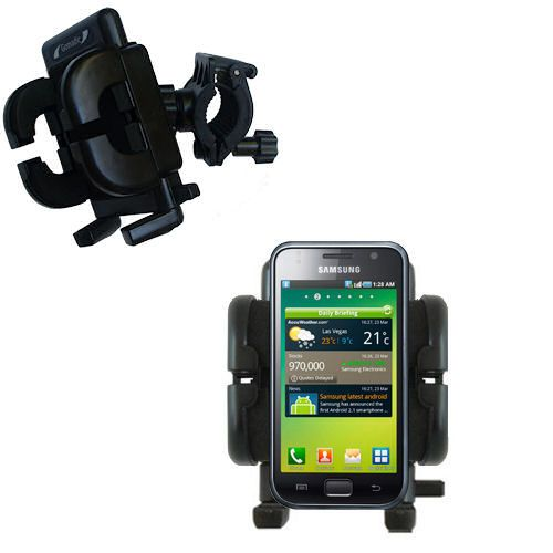 Gomadic Bike Handlebar Holder Mount System suitable for the Samsung Galaxy S - Unique Holder; Lifetime Warranty