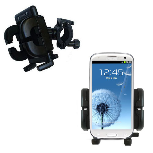 Gomadic Bike Handlebar Holder Mount System suitable for the Samsung Galaxy S III - Unique Holder; Lifetime Warranty