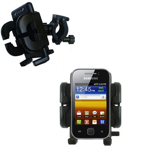 Gomadic Bike Handlebar Holder Mount System suitable for the Samsung Galaxy Y - Unique Holder; Lifetime Warranty