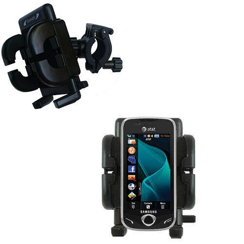 Gomadic Bike Handlebar Holder Mount System suitable for the Samsung Mythic - Unique Holder; Lifetime Warranty