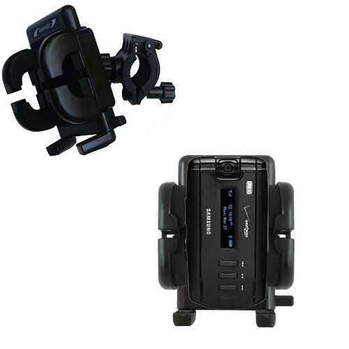 Gomadic Bike Handlebar Holder Mount System suitable for the Samsung SGH-A930 - Unique Holder; Lifetime Warranty