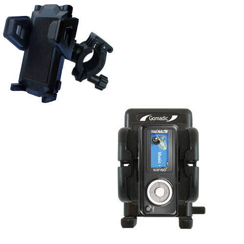Gomadic Bike Handlebar Holder Mount System suitable for the Sandisk Sansa c100 - Unique Holder; Lifetime Warranty
