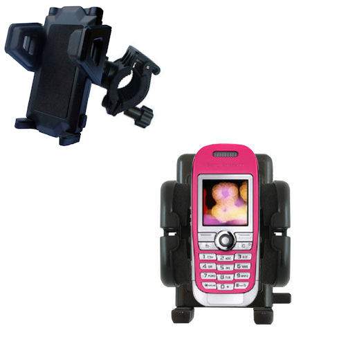 Gomadic Bike Handlebar Holder Mount System suitable for the Sony Ericsson J300c - Unique Holder; Lifetime Warranty