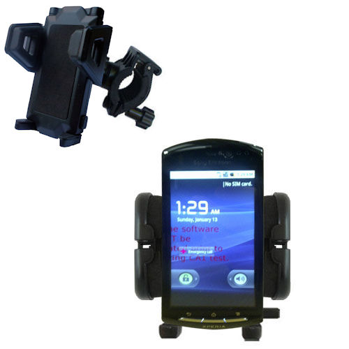 Gomadic Bike Handlebar Holder Mount System suitable for the Sony Ericsson LT15i - Unique Holder; Lifetime Warranty