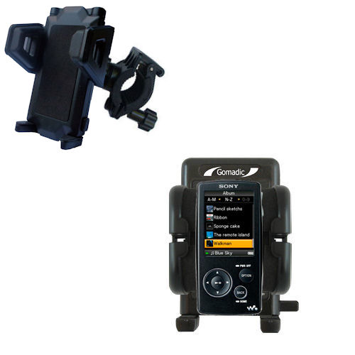 Gomadic Bike Handlebar Holder Mount System suitable for the Sony Walkman NWZ-A805 - Unique Holder; Lifetime Warranty