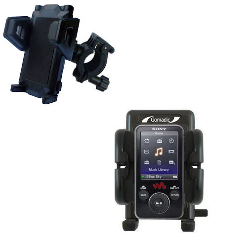 Gomadic Bike Handlebar Holder Mount System suitable for the Sony Walkman NWZ-E438F - Unique Holder; Lifetime Warranty