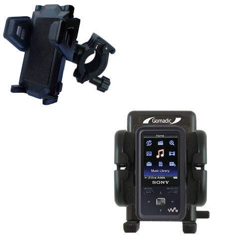 Gomadic Bike Handlebar Holder Mount System suitable for the Sony Walkman NWZ-S616 - Unique Holder; Lifetime Warranty
