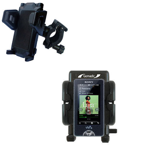 Gomadic Bike Handlebar Holder Mount System suitable for the Sony X Series - Unique Holder; Lifetime Warranty
