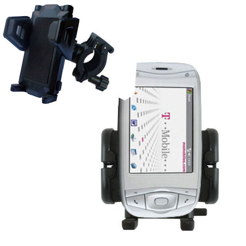 Gomadic Bike Handlebar Holder Mount System suitable for the T-Mobile MDA IV - Unique Holder; Lifetime Warranty