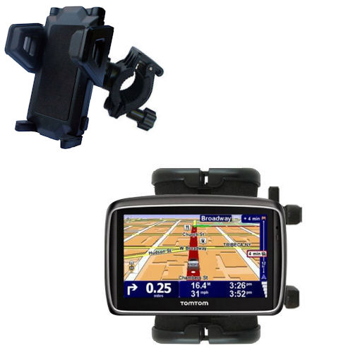 Gomadic Bike Handlebar Holder Mount System suitable for the TomTom 740 - Unique Holder; Lifetime Warranty