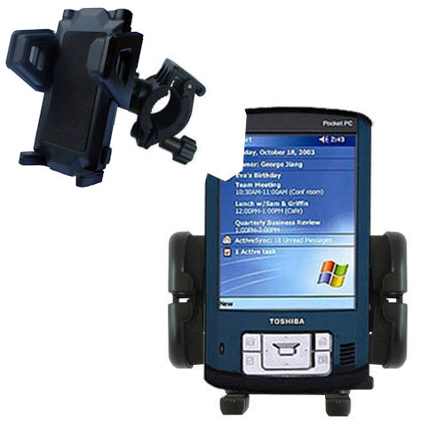 Gomadic Bike Handlebar Holder Mount System suitable for the Toshiba e805 - Unique Holder; Lifetime Warranty