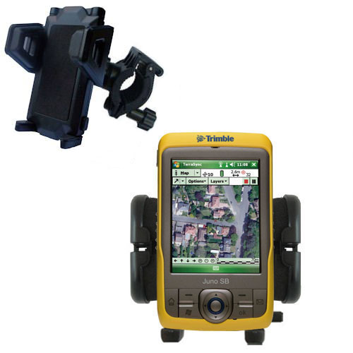Gomadic Bike Handlebar Holder Mount System suitable for the Trimble Juno SB - Unique Holder; Lifetime Warranty