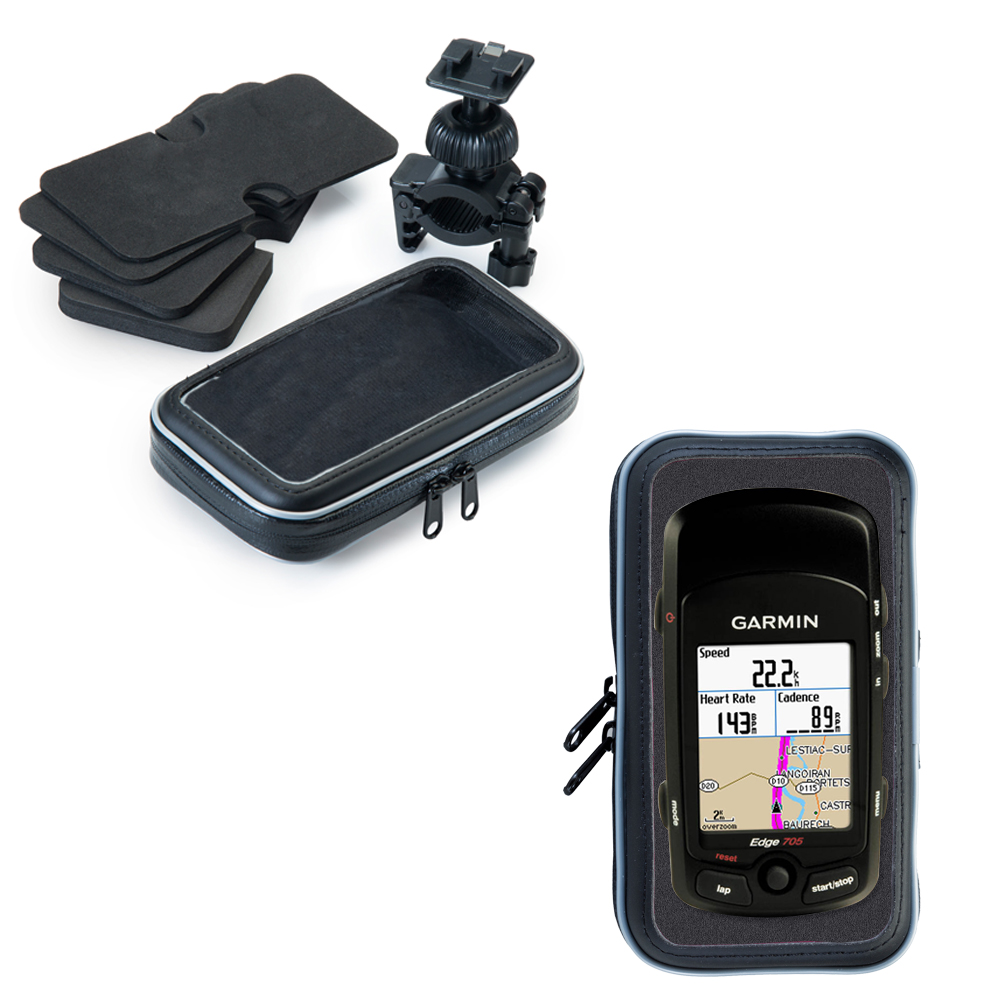 Weatherproof Handlebar Holder compatible with the Garmin Edge 705