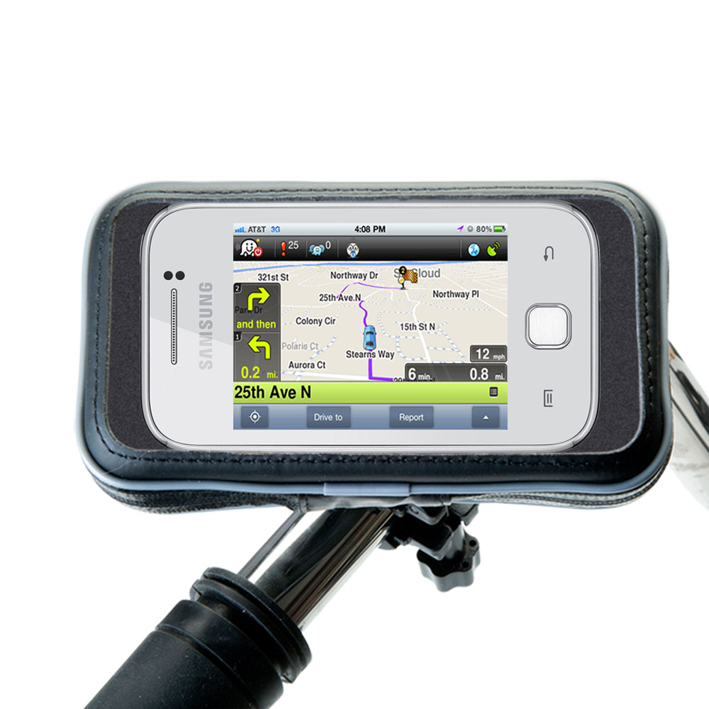 Heavy Duty Weather Resistant Bicycle / Motorcycle Handlebar Mount Holder Designed for the Samsung Galaxy Y