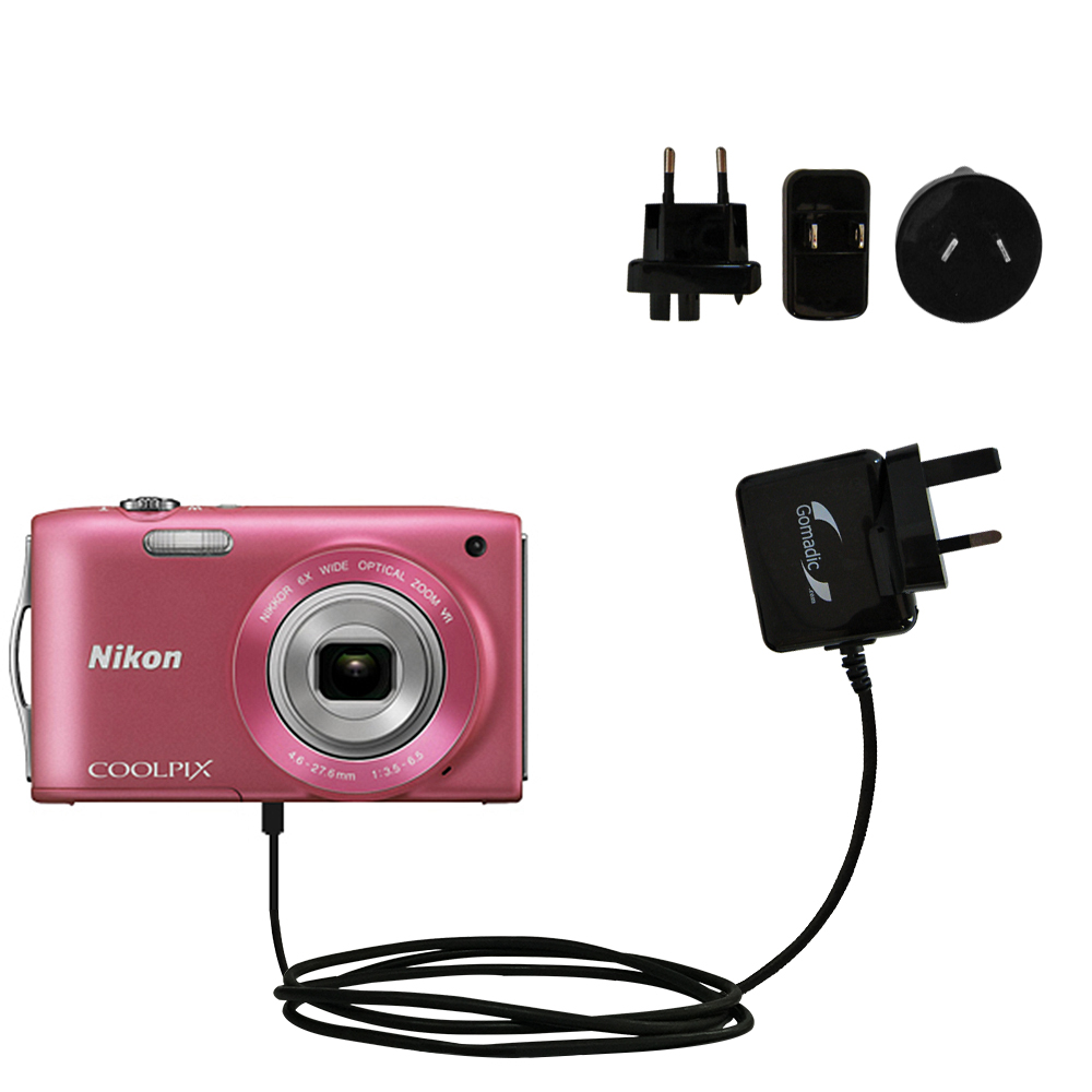 International Wall Charger compatible with the Nikon Coolpix S3200 / S3300
