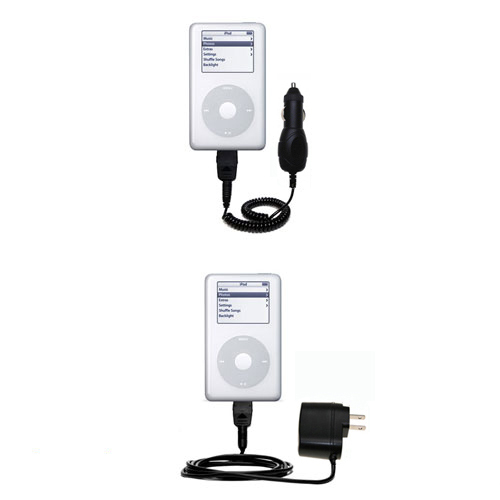 Gomadic Car and Wall Charger Essential Kit suitable for the Apple iPod 4G (20GB) - Includes both AC Wall and DC Car Charging Options with TipExchange