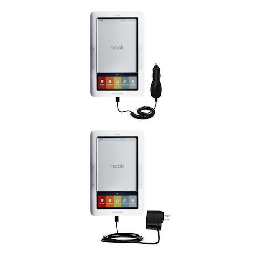 Gomadic Car and Wall Charger Essential Kit suitable for the Barnes and Noble nook Original eBook eReader - Includes both AC Wall and DC Car Charging Options with TipExchange